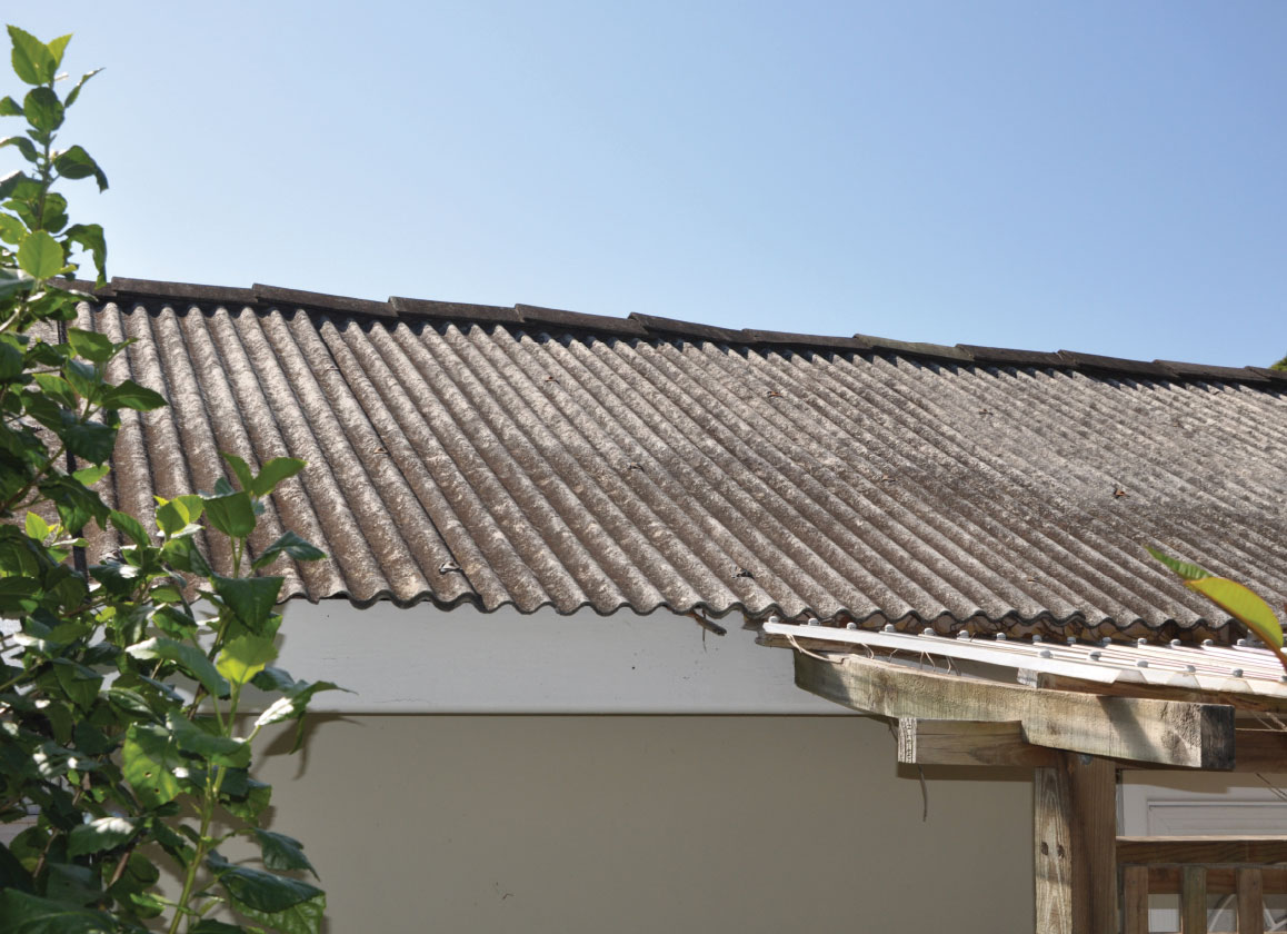 Asbestos cement roofing, gutters and downpipes